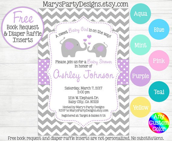 Pink And Purple Invitations For Baby Shower
