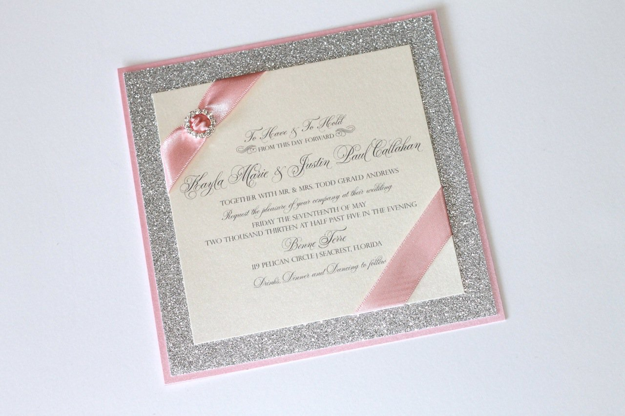 Pink And Silver Glitter Wedding Invitations
