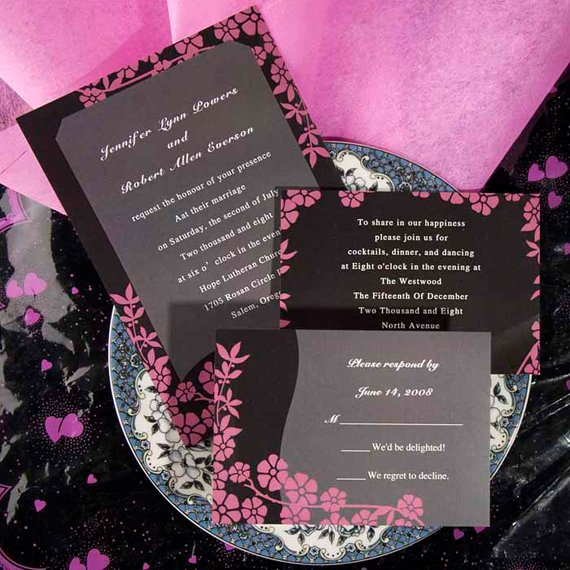 Pink And White Rose Wedding Invitations
