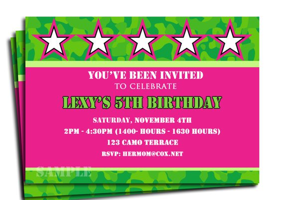 Pink Camouflage Invitations Free Printable