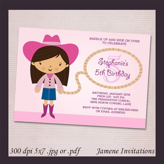 Pink Cowgirl Birthday Invitations