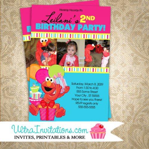 Pink Elmo Invitations