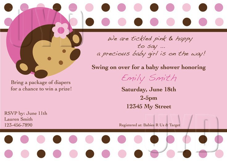 Pink Mod Monkey 1st Birthday Invitations