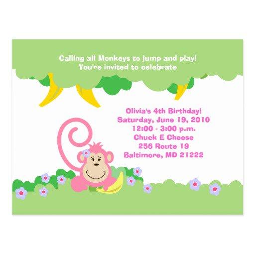 Pink Monkey Birthday Invitations