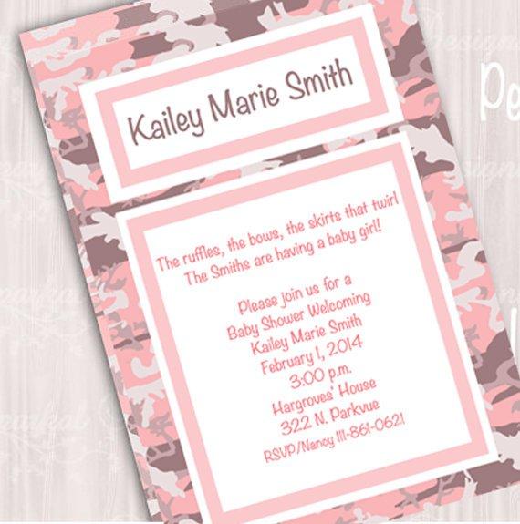 Pink Mossy Oak Baby Shower Invitations