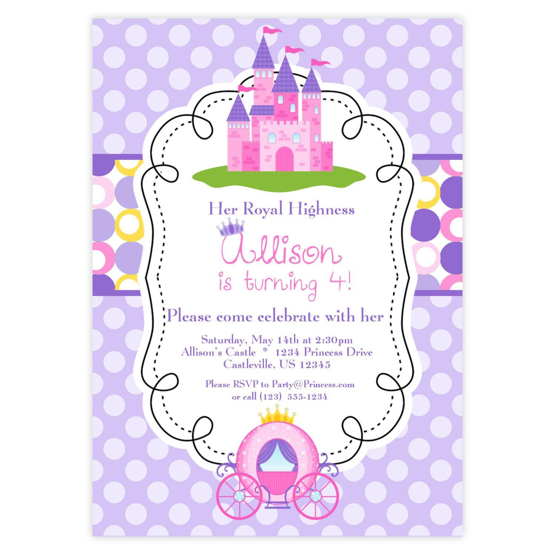 Pink Princess Birthday Invitations