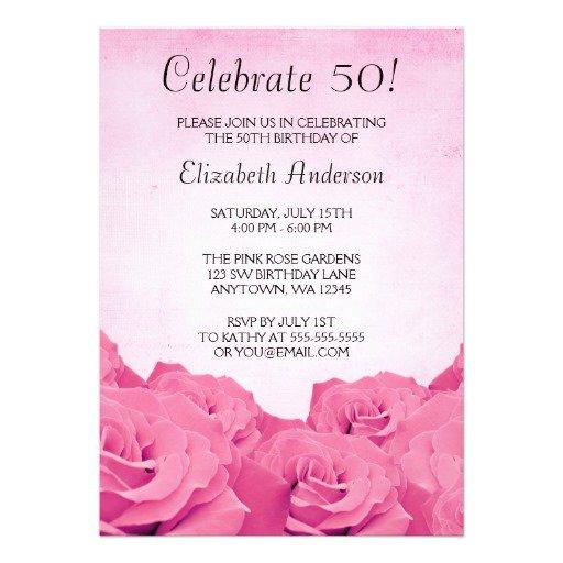 Pink Rose Invitations