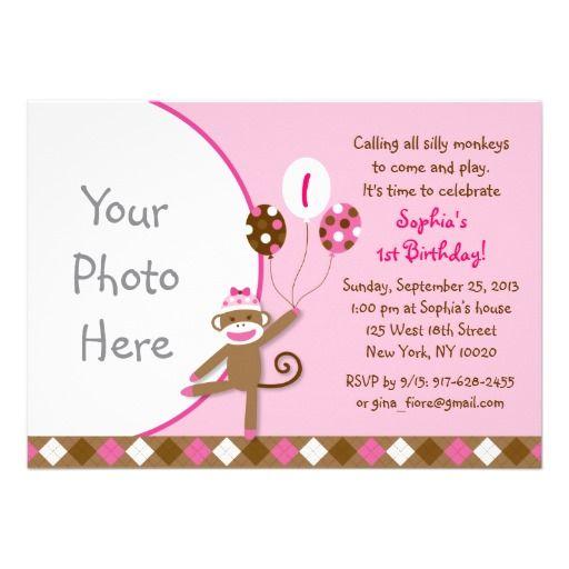 Pink Sock Monkey Birthday Invitations