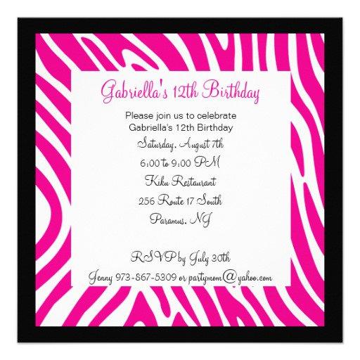 Pink Zebra Print Birthday Invitation