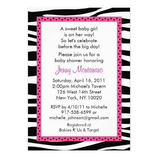 Pink Zebra Print Invitations Baby Shower