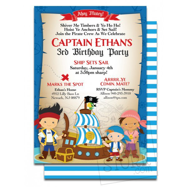 Pirate Baby Shower Invitation Cards