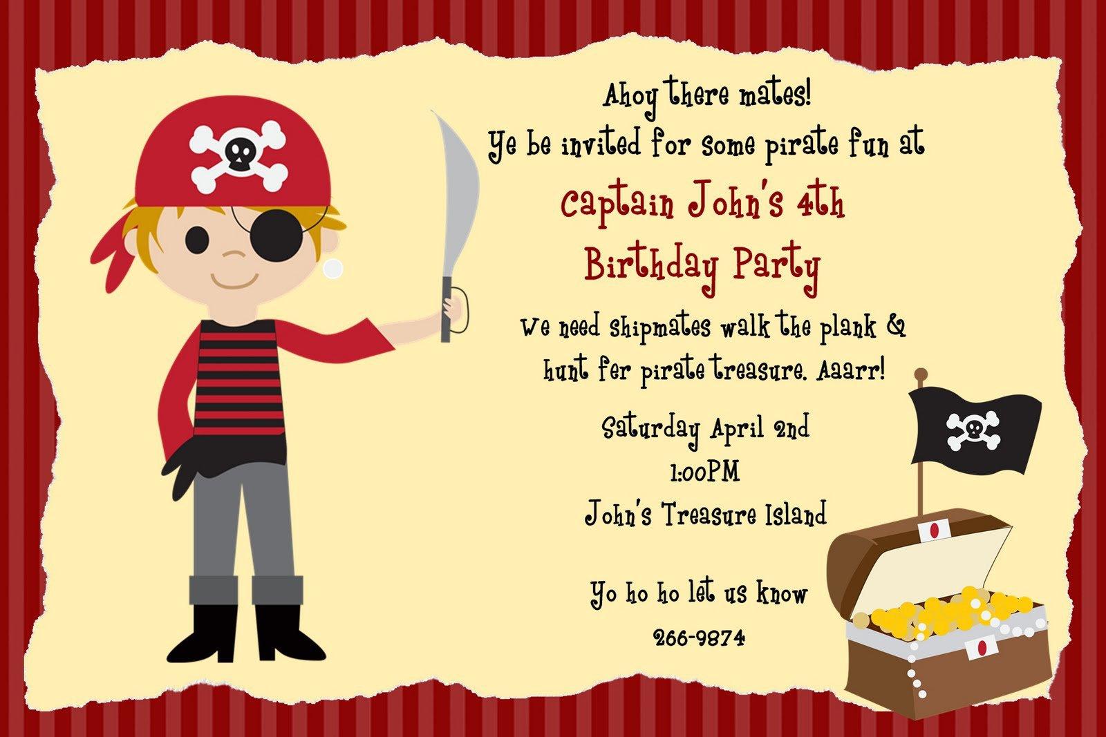 Pirate Birthday Invitations Template