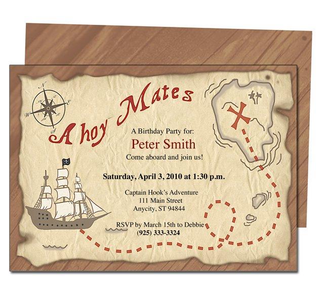 Pirate Birthday Party Invitations Templates