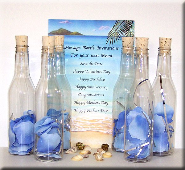 Message In A Bottle Wedding Invitations: Plastic Invitations
