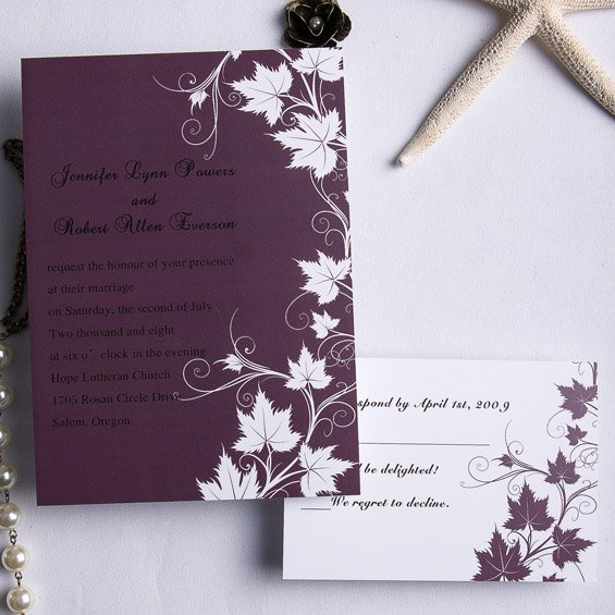 Plum Wedding Invitations Kits