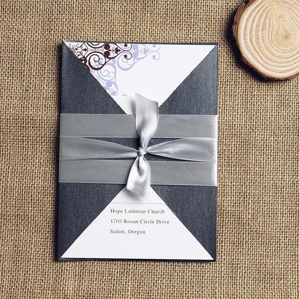 Pocket Wedding Invitation With Ribbon
