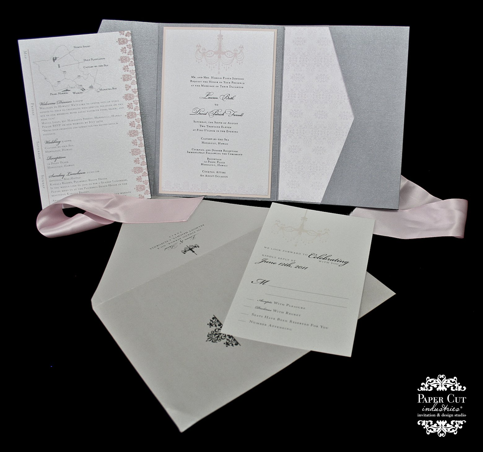 Pocket Wedding Invitations Ribbon