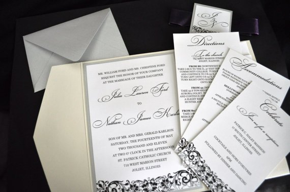 Pocket Wedding Invitations With Crystals