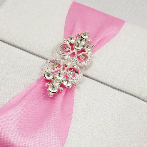 Pocket Wedding Invitations With Ribbon And Rhinestones