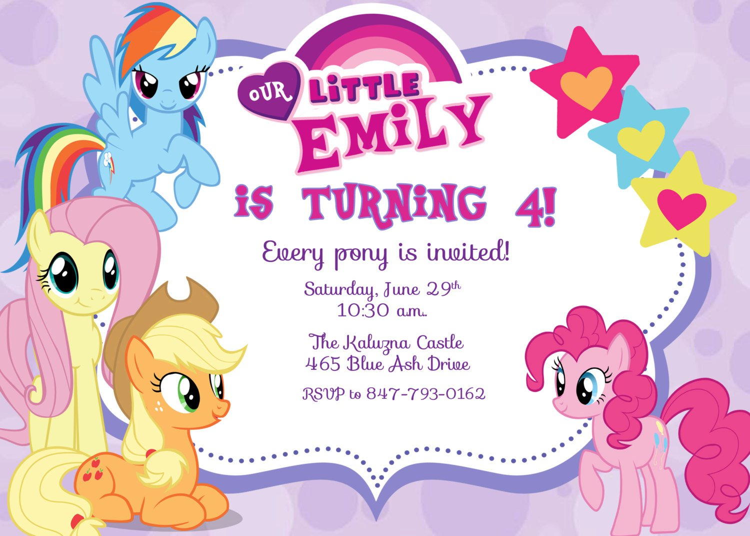 Pony Party Invitations Wording