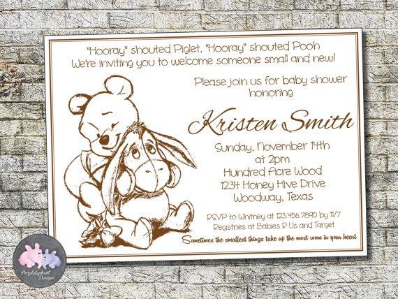 Pooh Bear Baby Shower Invitations