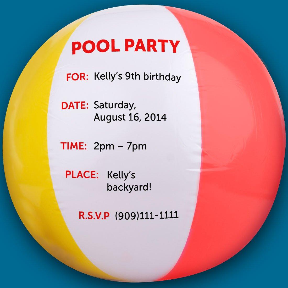 Pool Party Beach Ball Invitations