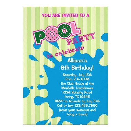 Pool Party Birthday Invitation Ideas