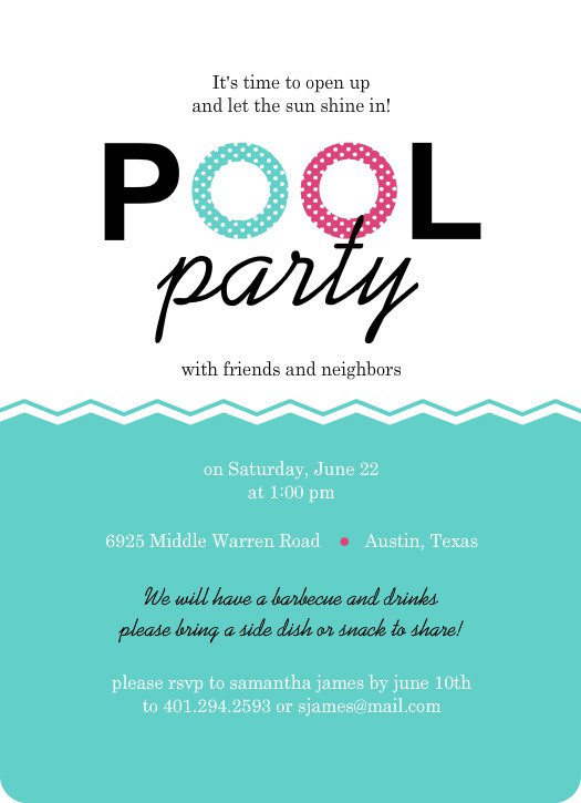 Party Birthday Invitation Templates – Pool Party Invite Template