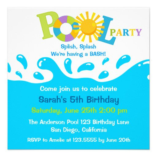 Pool Party Birthday Invitations Boys