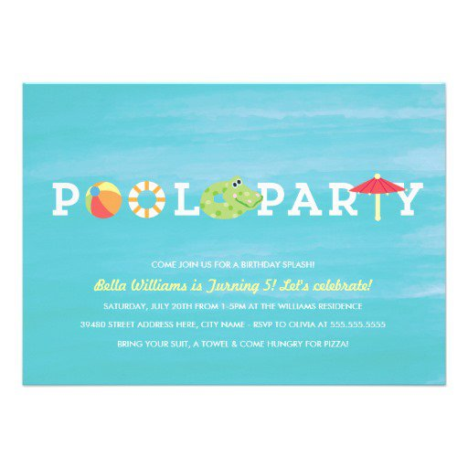 Pool Party Custom Invitation Templates