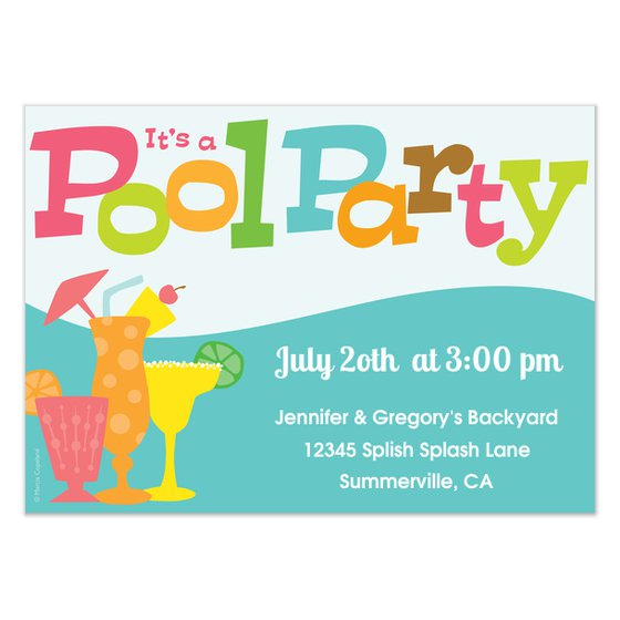 Pool Party Invitation Card Design