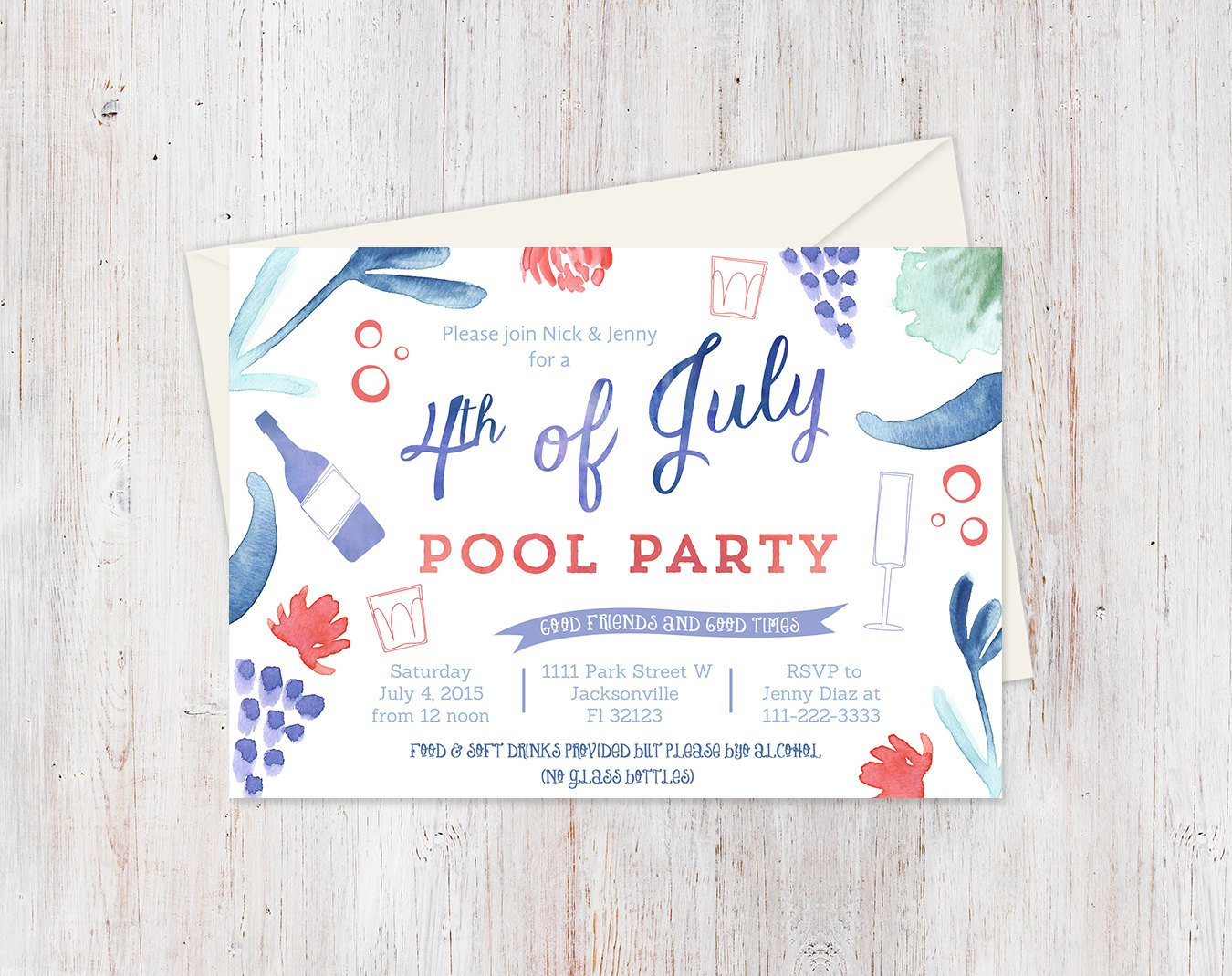 Pool Party Invitation Layout