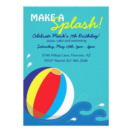Pool Party Invitations Beach Ball