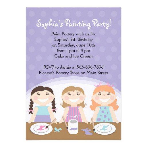 Pottery Party Birthday Invitations