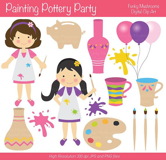Pottery Party Invitations Girls