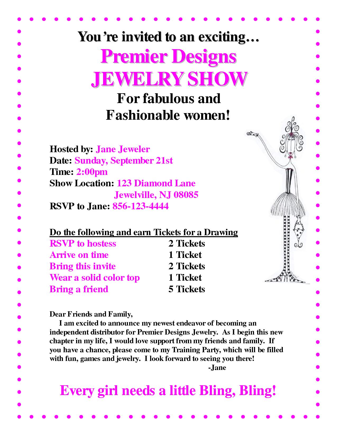 Premier Designs Jewelry Invitation Template