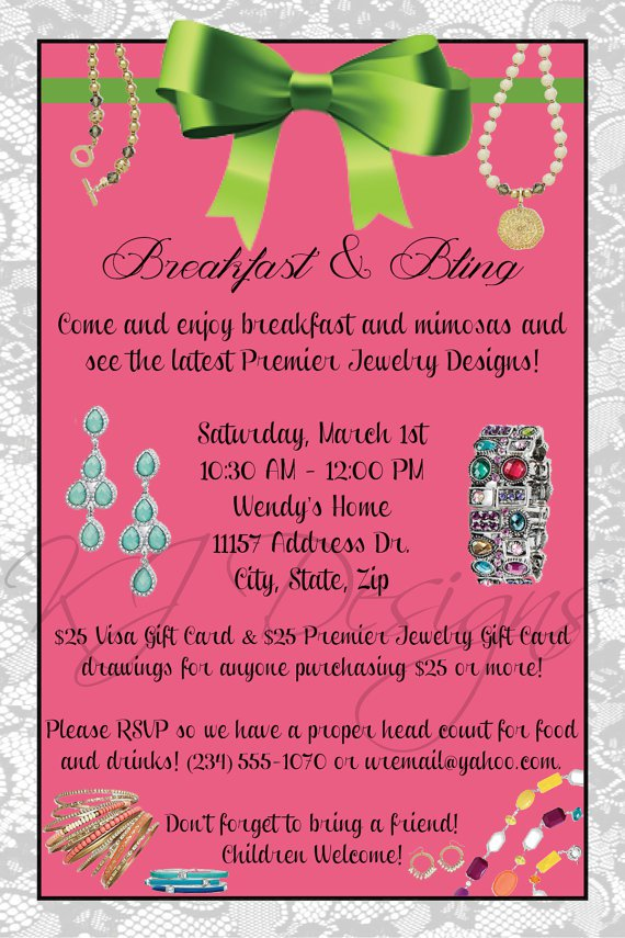 Premier Jewelry Party Invitation Wording