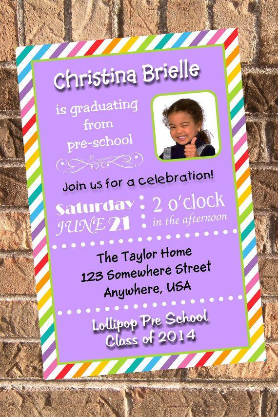 Preschool Graduation Invitations With A Rainbow