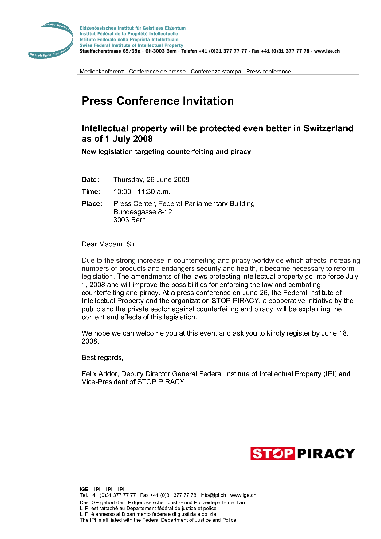 Press Conference Invitation