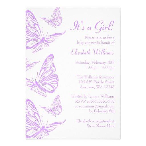 Pretty Purple Baby Shower Invitations