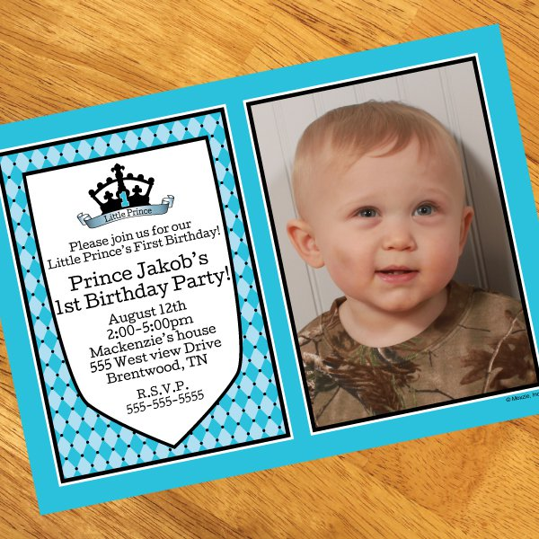 Prince 1st Birthday Invitations