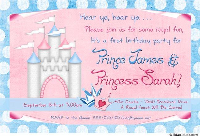 Prince And Princess Birthday Party Invitations