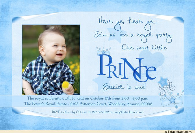Prince Birthday Invitations