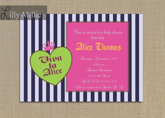 Princess Baby Shower Invitations Lime Green