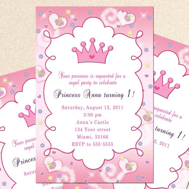 Princess First Birthday Invitation Wording