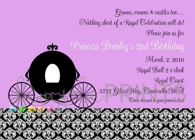 Princess Invitation Wording Samples