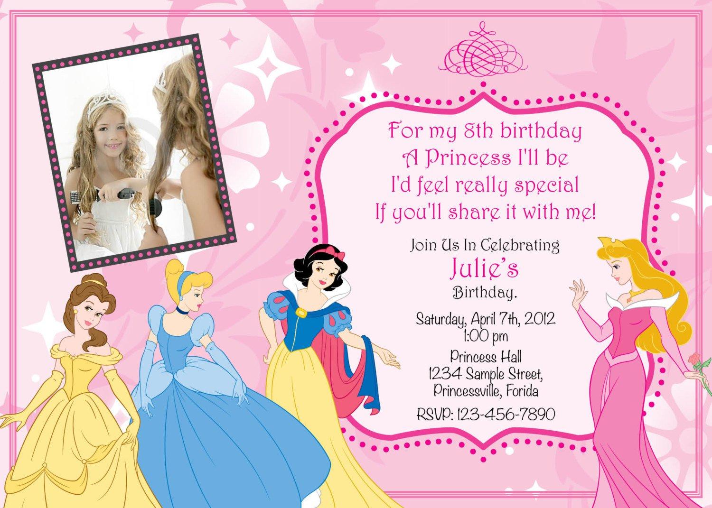 Princesses Party Invitations Blank