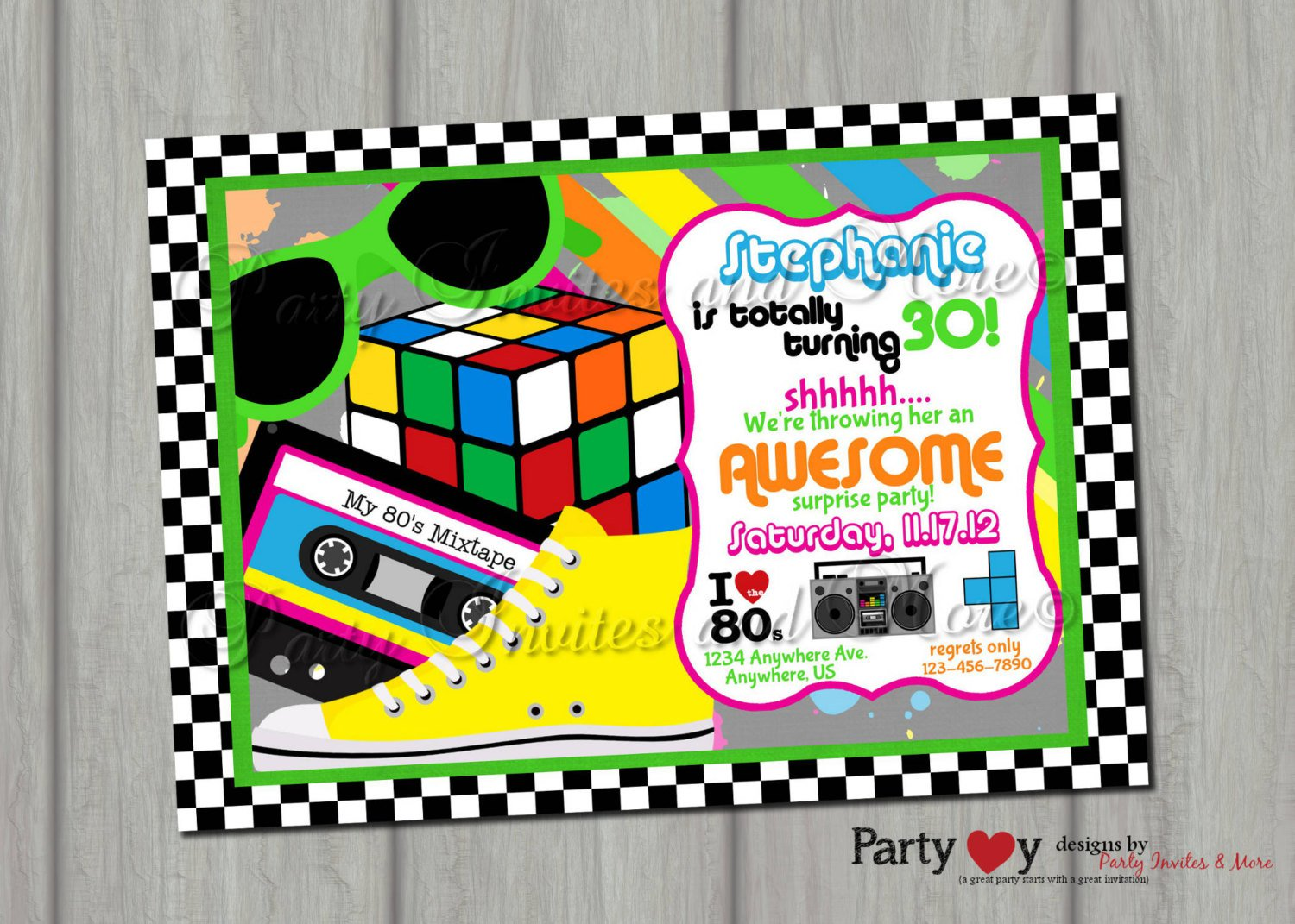 80s Birthday Invitations Printable – 80s Party Invitations Template Free