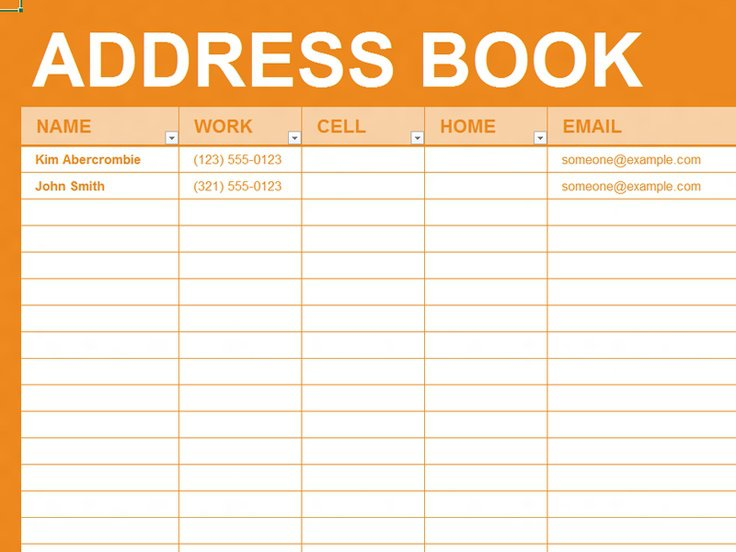 Printable Address Book Pages Template