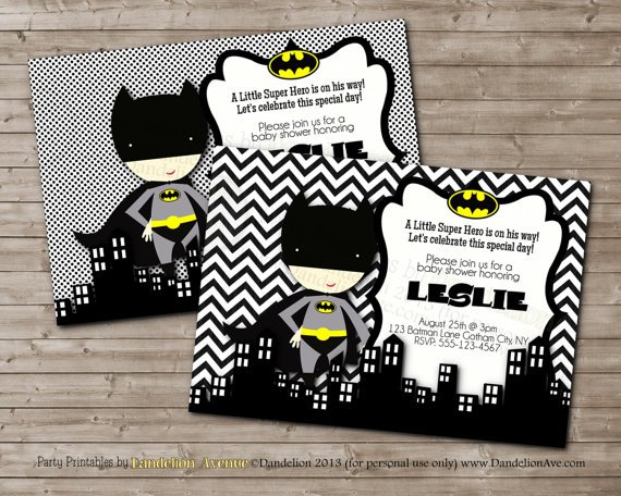 Printable Batman Baby Shower Invitations